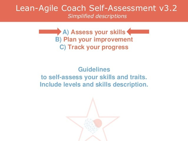Lean-Agile Coach Self-Assessment v3.2 Simplified descriptions A) Assess your skills B) Plan your improvement C) Track your...