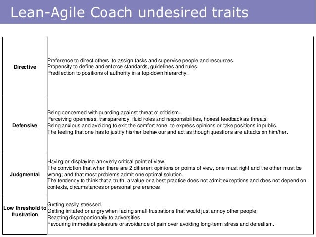 Lean-Agile Coach undesired traits Directive Preference to direct others, to assign tasks and supervise people and resource...