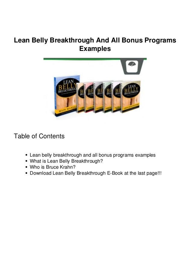 Lean Belly Breakthrough And All Bonus Programs Examples