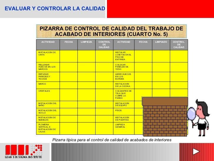 PIZARRA DE CONTROL DE CALIDAD DEL TRABAJO DE ACABADO DE INTERIORES (CUARTO No. 5) Pizarra típica para el control de calida...
