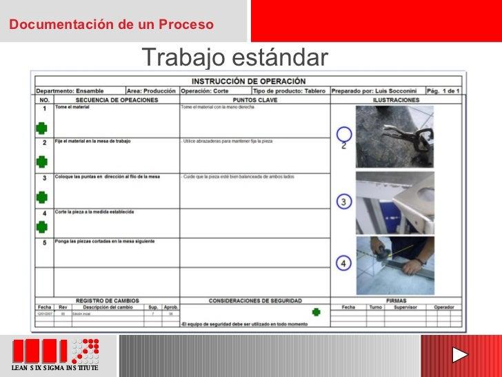 Trabajo estándar Documentación de un Proceso