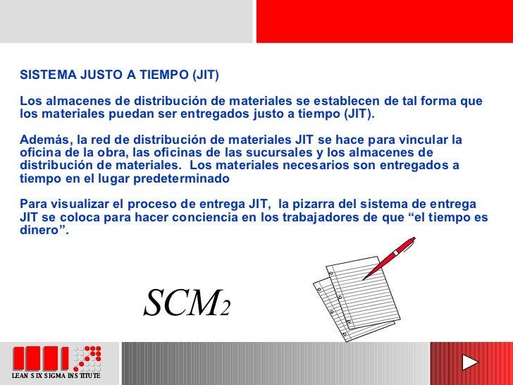 SISTEMA JUSTO A TIEMPO (JIT)  Los almacenes de distribución de materiales se establecen de tal forma que los materiales pu...
