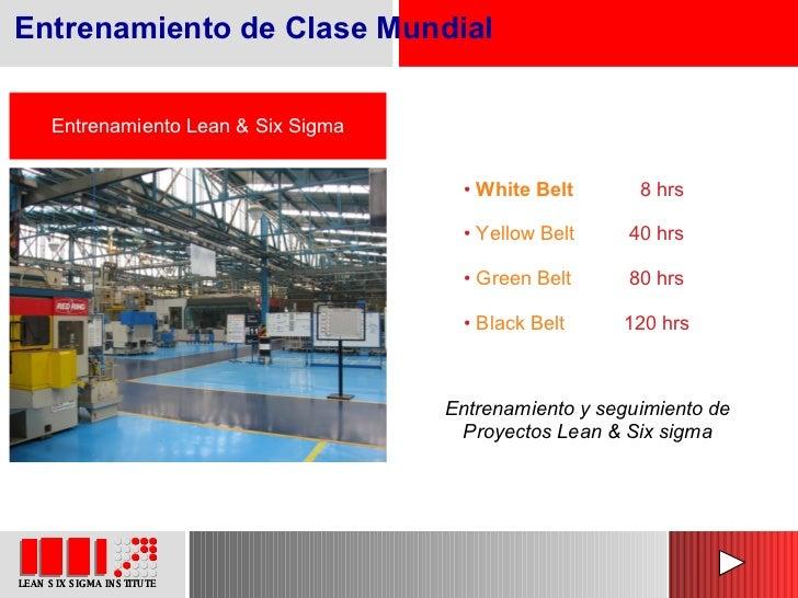 Entrenamiento Lean & Six Sigma Entrenamiento y seguimiento de Proyectos Lean & Six sigma <ul><li>White Belt     8 hrs </li...