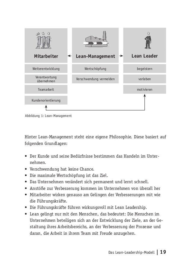 Das Lean-Leadership-Modell   19 Hinter Lean-Management steht eine eigene Philosophie. Diese basiert auf folgenden Grundlag...