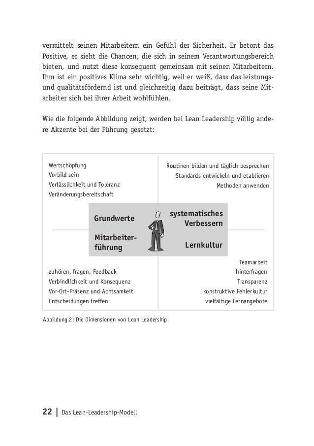 22   Das Lean-Leadership-Modell vermittelt seinen Mitarbeitern ein Gefühl der Sicherheit. Er betont das Positive, er sieht...