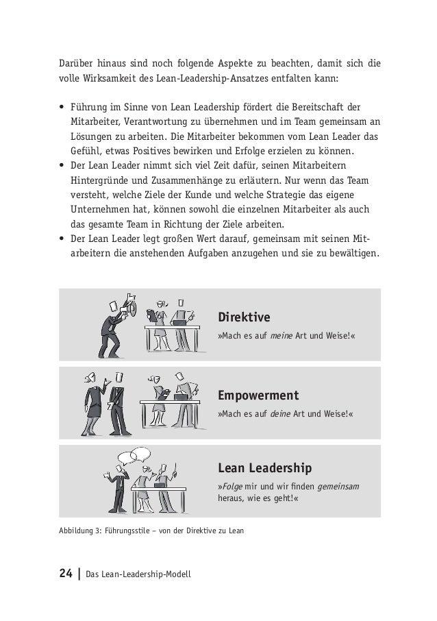 24   Das Lean-Leadership-Modell Darüber hinaus sind noch folgende Aspekte zu beachten, damit sich die volle Wirksamkeit de...