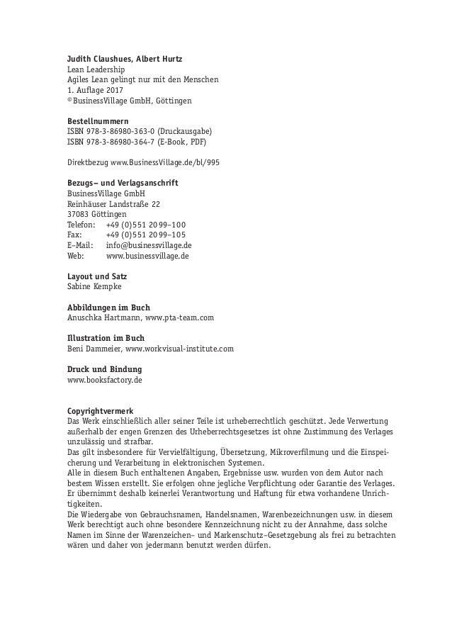 Judith Claushues, Albert Hurtz Lean Leadership Agiles Lean gelingt nur mit den Menschen 1. Auflage 2017 ©BusinessVillage ...