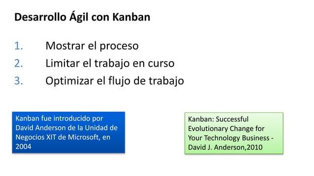 Desarrollo Ágil con Kanban 1. Mostrar el proceso 2. Limitar el trabajo en curso 3. Optimizar el flujo de trabajo Kanban: S...