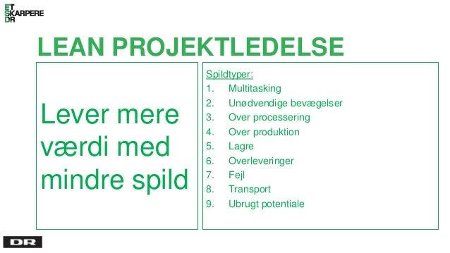 LEAN PROJEKTLEDELSE Lever mere værdi med mindre spild Spildtyper: 1. Multitasking 2. Unødvendige bevægelser 3. Over proces...