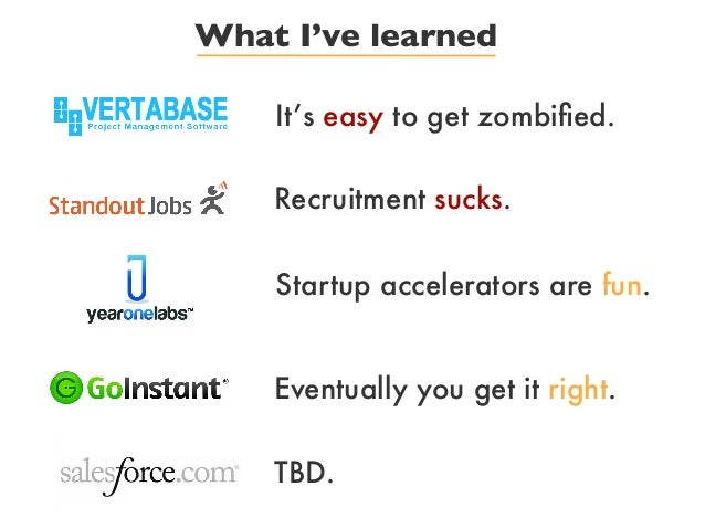 What I've learnedIt's easy to get zombified.Recruitment sucks.Startup accelerators are fun.Eventually you get it right.TBD.
