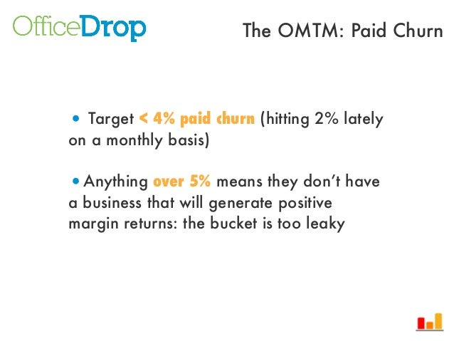 • Target < 4% paid churn (hitting 2% latelyon a monthly basis)•Anything over 5% means they don't havea business that will ...