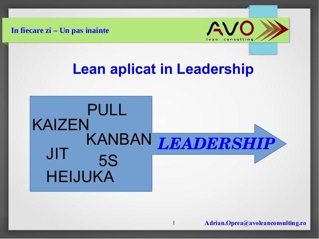 Adrian.Oprea@avoleanconsulting.ro1 In fiecare zi – Un pas inainte Lean aplicat in Leadership 5SJIT HEIJUKA KAIZEN PULL KAN...