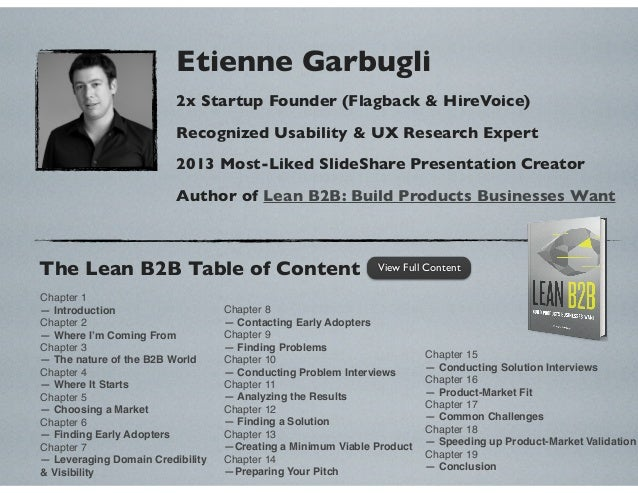 Etienne Garbugli 2x Startup Founder (Flagback & HireVoice) Recognized Usability & UX Research Expert 2013 Most-Liked Slide...
