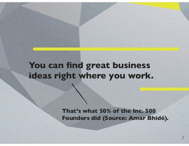 You can find great business ideas right where you work. That's what 50% of the Inc. 500 Founders did (Source: Amar Bhidé). 3