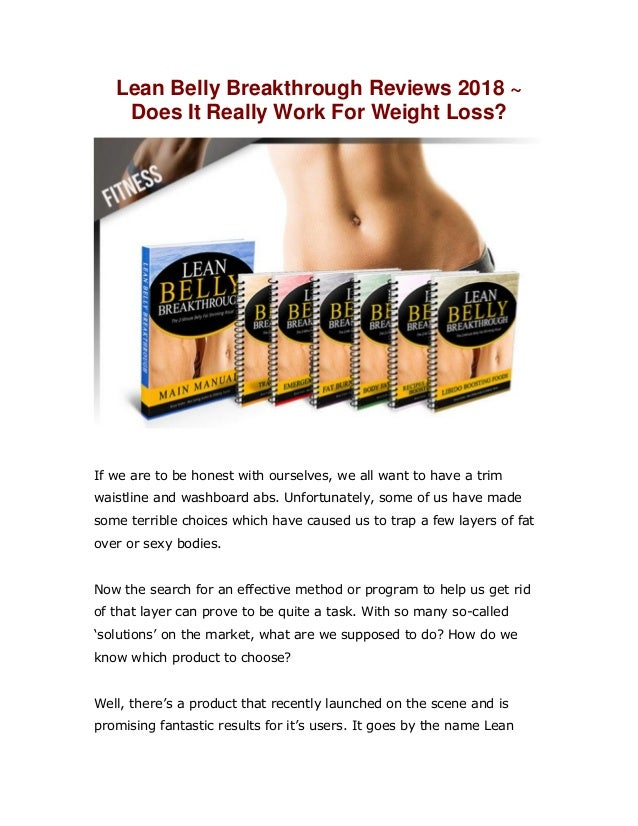 A 2018 Review Of The Lean Belly Breakthrough Program