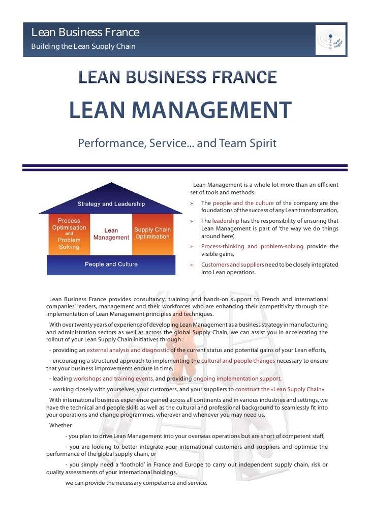 Lean Business France Building the Lean Supply Chain                 LEAN MANAGEMENT                 Performance, Service.....