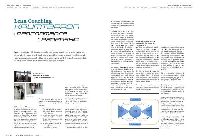 Tema: lean / procesoptimering  Tema: lean / procesoptimering  lean coaching krumtappen i performance leadership  lean coac...