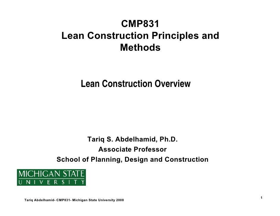 CMP831                     Lean Construction Principles and                                Methods                        ...