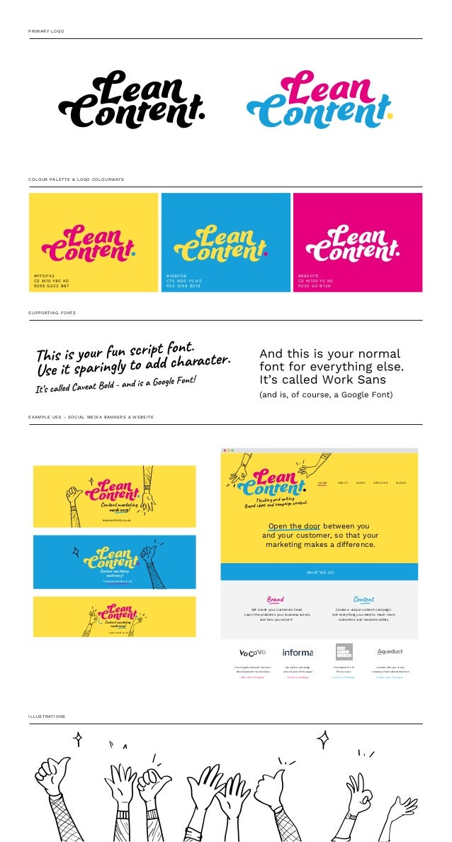 PRIMARY LOGO COLOUR PALETTE & LOGO COLOURWAYS SUPPORTING FONTS EXAMPLE USE - SOCIAL MEDIA BANNERS & WEBSITE #FFDF43 C0 M10...