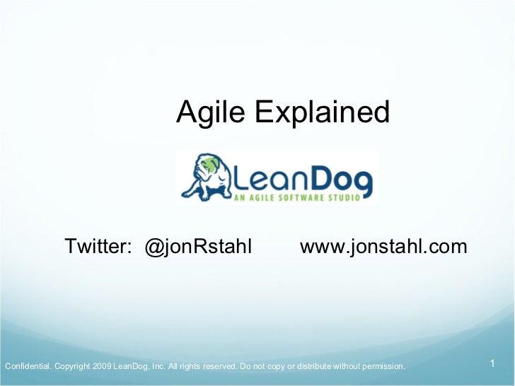 Agile Explained Jon Stahl