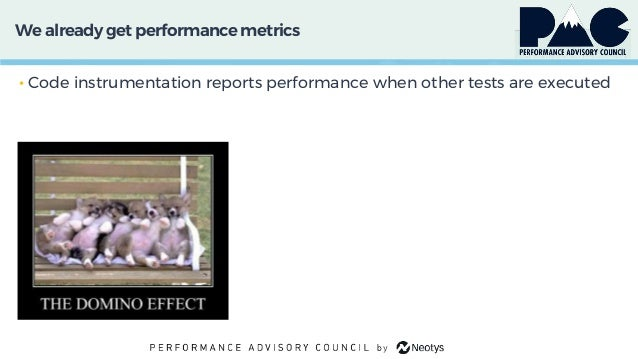 We already get performancemetrics • Code instrumentation reports performance when other tests are executed