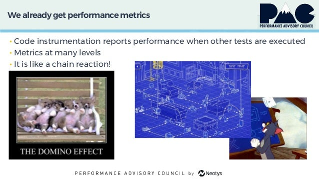 We already get performancemetrics • Code instrumentation reports performance when other tests are executed • Metrics at ma...
