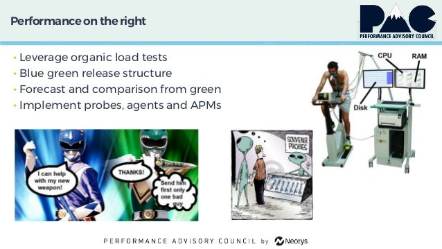 Performanceon theright • Leverage organic load tests • Blue green release structure • Forecast and comparison from green •...