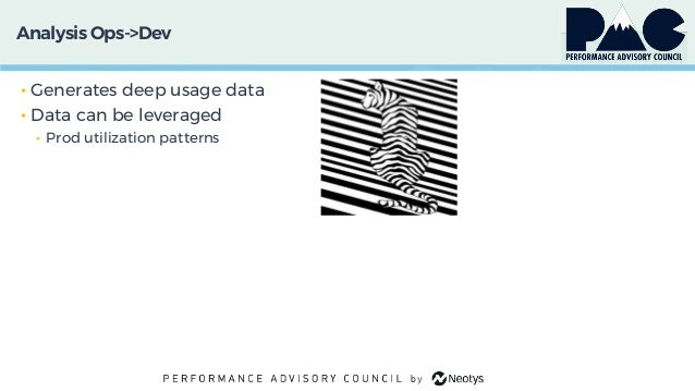 Analysis Ops->Dev • Generates deep usage data • Data can be leveraged • Prod utilization patterns