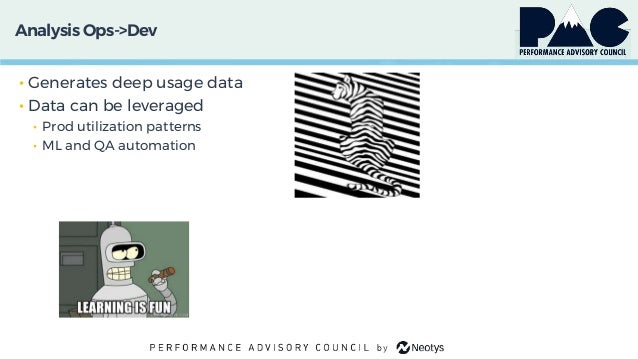 Analysis Ops->Dev • Generates deep usage data • Data can be leveraged • Prod utilization patterns • ML and QA automation
