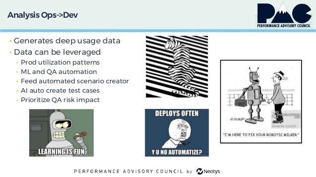Analysis Ops->Dev • Generates deep usage data • Data can be leveraged • Prod utilization patterns • ML and QA automation •...