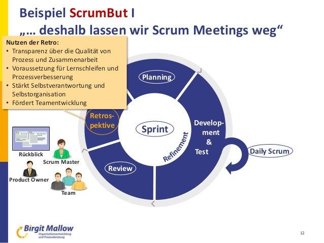 "Rückblick Beispiel ScrumBut I ""… deshalb lassen wir Scrum Meetings weg"" 12 Planning Retros- pektive Review Develop- ment &..."