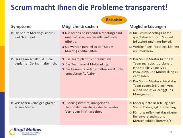 Scrum macht Ihnen die Probleme transparent!  Die bereits bestehenden Meetings sind unstrukturiert, weder effizient noch e...