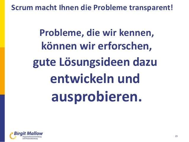 Scrum macht Ihnen die Probleme transparent! 23 Probleme, die wir kennen, können wir erforschen, gute Lösungsideen dazu ent...
