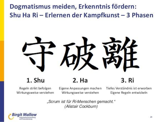 Dogmatismus meiden, Erkenntnis fördern: Shu Ha Ri – Erlernen der Kampfkunst – 3 Phasen 24 1. Shu 2. Ha 3. Ri Regeln strikt...