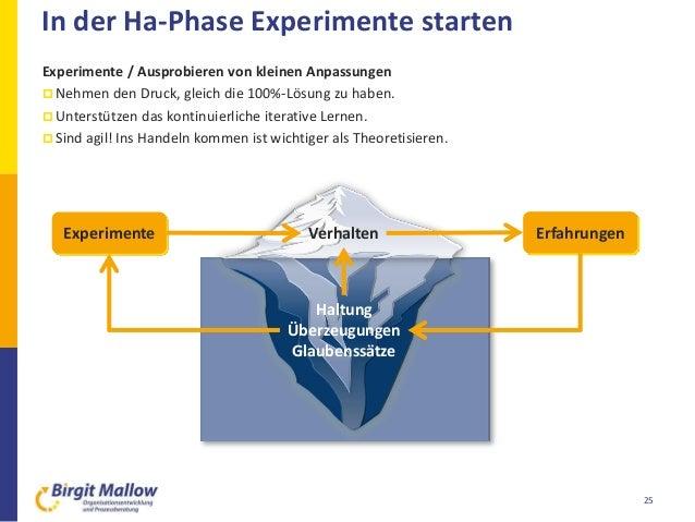 In der Ha-Phase Experimente starten 25 Experimente / Ausprobieren von kleinen Anpassungen  Nehmen den Druck, gleich die 1...