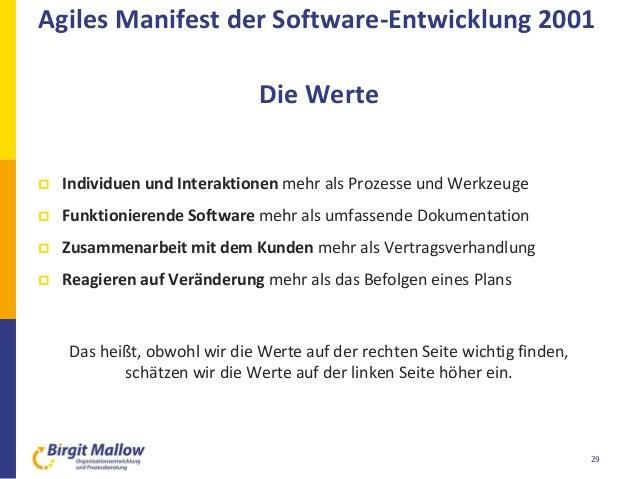 29  Individuen und Interaktionen mehr als Prozesse und Werkzeuge  Funktionierende Software mehr als umfassende Dokumenta...