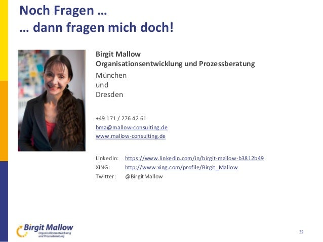 Noch Fragen … … dann fragen mich doch! 32 Birgit Mallow Organisationsentwicklung und Prozessberatung München und Dresden +...