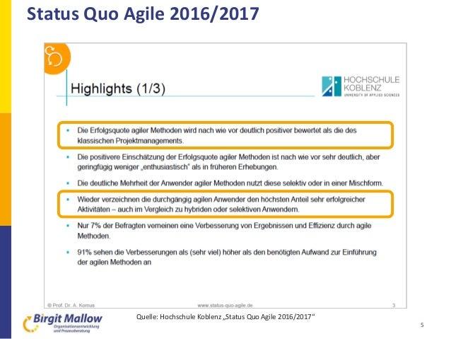 """Status Quo Agile 2016/2017 5 Quelle: Hochschule Koblenz """"Status Quo Agile 2016/2017"""""""