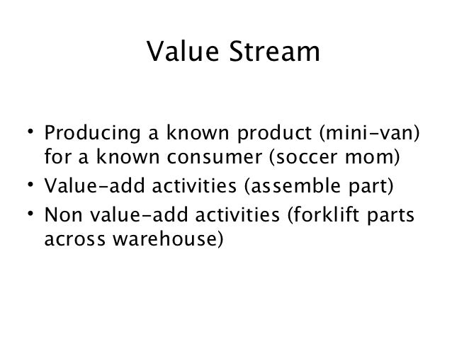 Value Stream• Producing a known product (mini-van)  for a known consumer (soccer mom)• Value-add activities (assemble part...