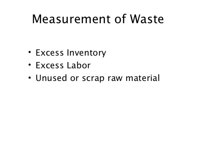 Measurement of Waste• Excess Inventory• Excess Labor• Unused or scrap raw material