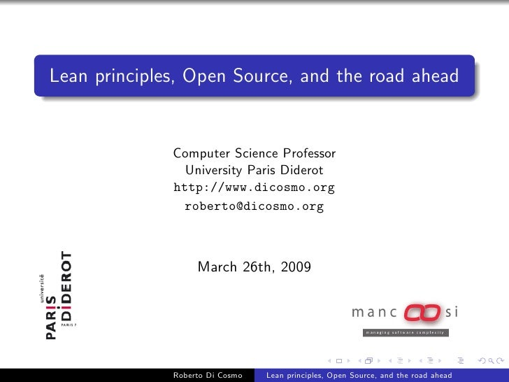 Lean principles, Open Source, and the road ahead                 Computer Science Professor                 University Par...