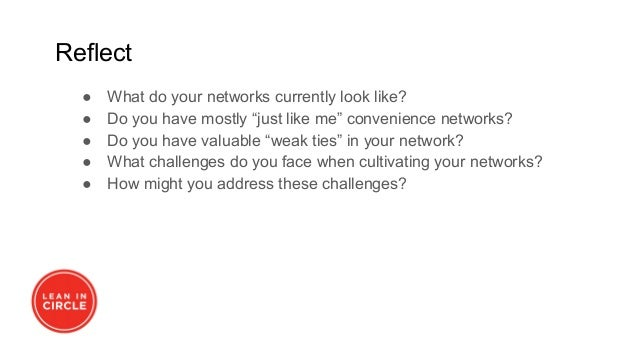 """Reflect ● What do your networks currently look like? ● Do you have mostly """"just like me"""" convenience networks? ● Do you ha..."""