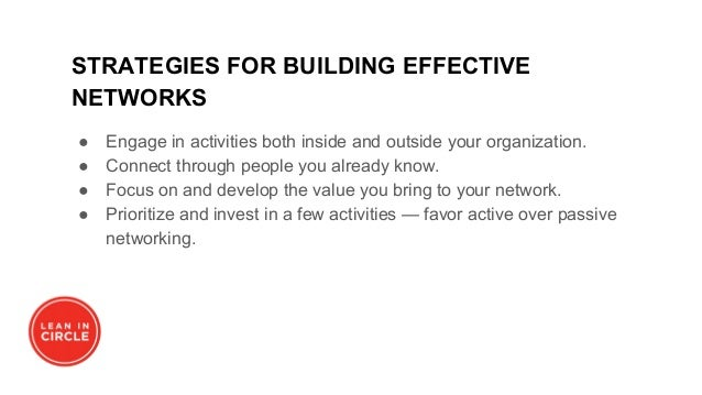 STRATEGIES FOR BUILDING EFFECTIVE NETWORKS ● Engage in activities both inside and outside your organization. ● Connect thr...