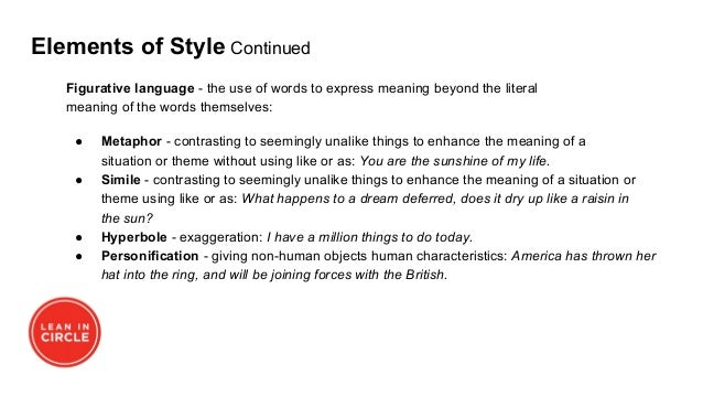 Elements of Style Continued Figurative language - the use of words to express meaning beyond the literal meaning of the wo...