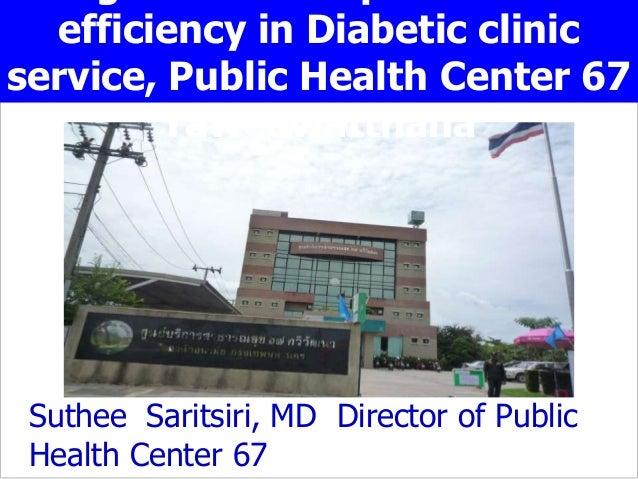 efficiency in Diabetic clinic service, Public Health Center 67 Taweewatthana Suthee Saritsiri, MD Director of Public Healt...