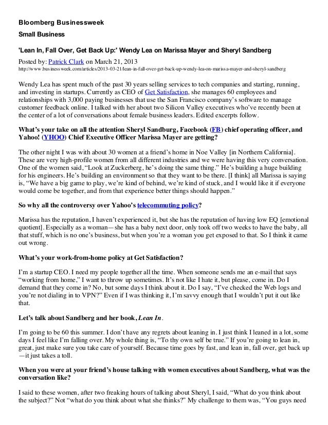 BloombergBusinessweekSmallBusinessLeanIn,FallOver,GetBackUp:WendyLeaonMarissaMayerandSherylSandbergPosted ...