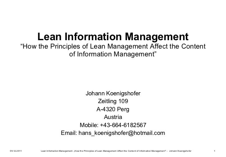 "Lean Information Management ""How the Principles of Lean Management Affect the Content of Information Management"" Johann Ko..."