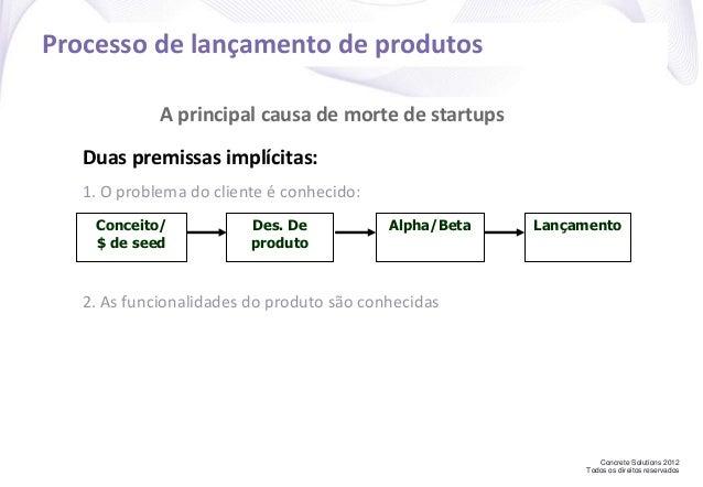 Concrete Solutions 2012 Todos os direitos reservados Processo de lançamento de produtos Conceito/ $ de seed Des. De produt...