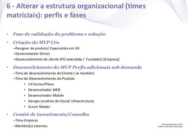 Concrete Solutions 2012 Todos os direitos reservados 6 - Alterar a estrutura organizacional (times matriciais): perfis e f...
