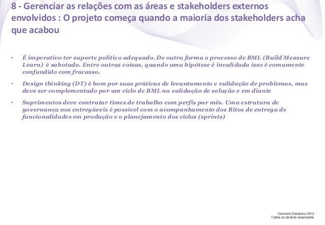 Concrete Solutions 2012 Todos os direitos reservados 8 - Gerenciar as relações com as áreas e stakeholders externos envolv...